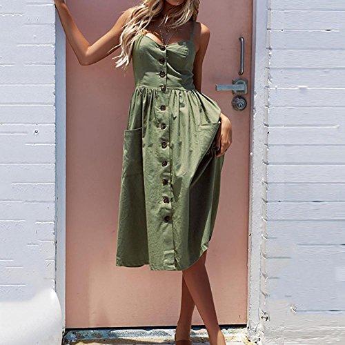 Zhuotop Esercito Verde Dell'imbracatura Con Strisce A Tasto Donne Tasche Vestito Il Delle YqZ1xf