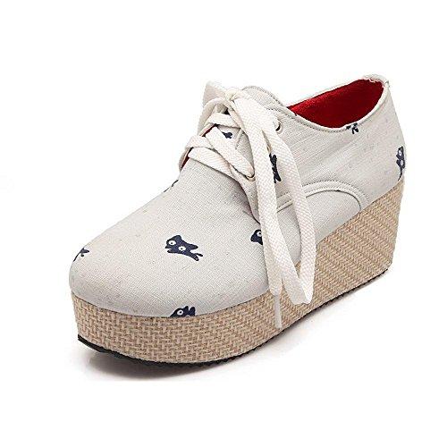 VogueZone009 Damen Schnüren Mittler Absatz Gewebe Gemischte Farbe Rund Zehe Pumps Schuhe Cremefarben