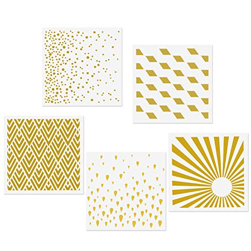 - CODOHI 5 Mixed Media Stencils Set - Raindrops, Spray Dot, Sunlight, Rhombus, Mountain Peak Designs, 5.9x5.9