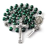 HanlinCC 8mm Malachite Natural Stone Beads Rosary with 10mm Anti-Silver Plated Rose Our Father Beads Catholic Rosary Necklace with Miraculous Center Piece and Crucifix with Leather Gift Box