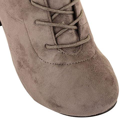 New para mujer Botas de caña alta mujer encaje hasta Stretch Evening Party tacón zapatos gris ante