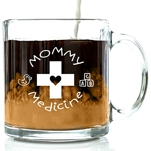 Mommy Medicine Funny Glass Coffee Mug - Best Valentine's Day Gift for Mom - Unique Birthday Gifts For Women - Valentines Present Idea For Her, New Mother, Wife, Girlfriend, From Son or Daughter (Good Presents For Moms compare prices)