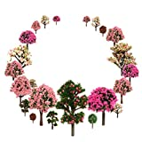 29pcs Mixed Model Trees, 1.5-5 inch(4-12 cm), OrgMemory Fruit Trees, Ho Scale Trees, Model Train Scenery, Architecture Trees, Flower Trees with No Bases