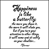 1 X Happiness Is Like A Butterfly - Thoreau Black and White Magnet