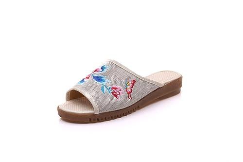 Mariposas de Peonía, Zapatos de Estilo Chino, Zapatos para el hogar, Zapatillas,