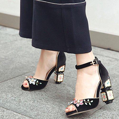 GJDE Sandalias de Gamuza?Mujer Tacón Robusto Talón de bloque Zapatos del club Tacones Vestido Informal Fiesta b