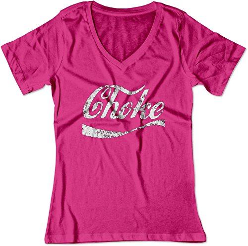 BSW Women's Choke Funny Coke Parody V-Neck Shirt XS Raspberry -