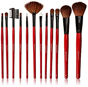 SHANY Professional 12 - Piece Natural Goat and Badger Cosmetic Brush Set with Pouch - Red