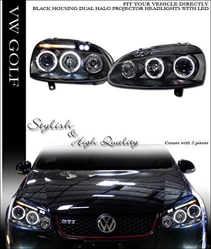 lkswagen VW GOLF GTI JETTA MKV BLACK DRL LED HALO PROJECTOR HEADLIGHTS SIGNAL JY (Jetta Halo Projector Headlights)
