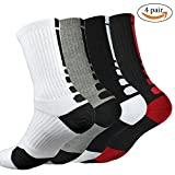 4 Pack Mens Elite Basketball Socks Cushion Athletic Long Sports Outdoor Socks Dri-fit Compression Sock 6.5-11.5