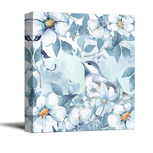 wall26 Square Canvas Wall Art - Light Blue Water Color Style Painting of Bird and Flowers - Giclee Print Gallery Wrap Modern Home Decor Ready to Hang - 12x12 - Art Light Blue