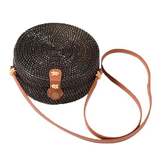 Vintage Handwoven Round Ata Rattan Shoulder Bag Straw Purse with Bow Clasp (Black (Interlocking Clasp)) ()