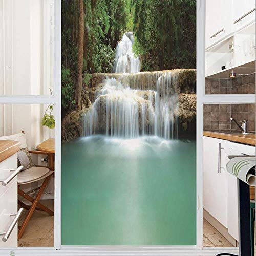 - Decorative Window Film,No Glue Frosted Privacy Film,Stained Glass Door Film,Falling Stream Waterfall Natural Pond Thailand Vacation Theme Print,for Home & Office,23.6In. by 47.2In Almond Green Brown W