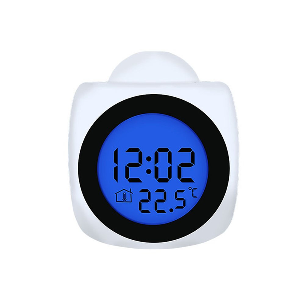 Nibesser Projection Alarm Clock with Colorful LED Nightlight Auto Time Set Sleep Timer Indoor Time//Temperature Display Digital Bedside Clocks White