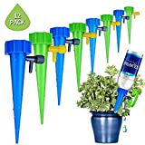 LASLU Plant Waterer Self Watering Devices, Vacation Potted Plant Watering Spikes Automatic Drip Irrigation Water Stakes System with Control Valve Switch for Garden Plants Indoor & Outdoor (12packs)