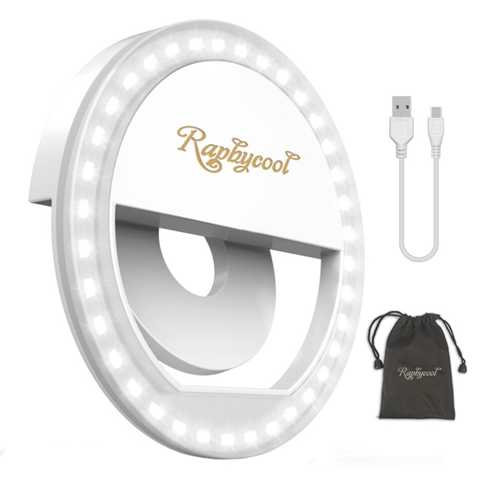 Selfie Ring Light for Phone, 36 LED Circle Light Clip-on Cell Phone Selfie Light Rechargeable Compatible with iPhone iPad Samsung Galaxy Huawei Photography Camera Video Lighting - White