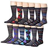 Beged Cotton Crew Funky Dress Socks for Men (12-Pack) – Fun Colorful Patterns - 2600