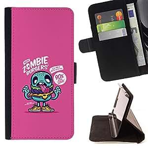 - purple zombie cute drawing app game - - Prima caja de la PU billetera de cuero con ranuras para tarjetas, efectivo desmontable correa para l Funny HouseFOR Samsung Galaxy S3 III I9300