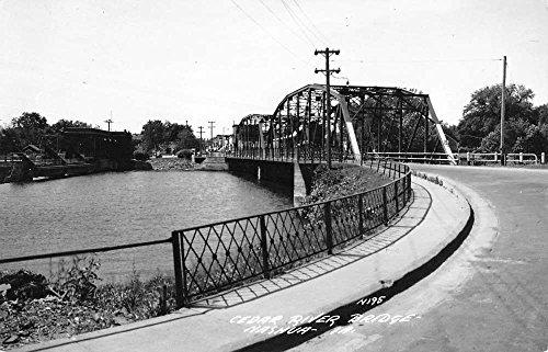 Nashua Iowa Cedar River Bridge Real Photo Vintage Postcard (Vintage Real Photo Postcard)