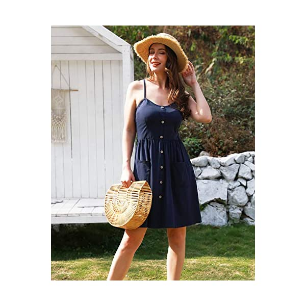 Floral Dress Spaghetti Strap Button Down Sundress with Pockets