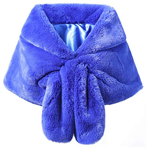 Dikoaina Luxury Faux Fur Shawl Wrap Stole Shrug Winter Bridal Wedding Cape