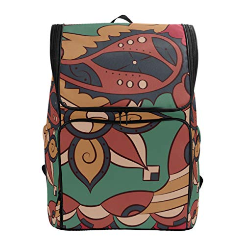 ALLMILL Backpack Seamless Mehndi Vector Pattern Handmade Ethnic Lightweight Travel Bag Hiking Knapsack College Student School Bookbag Travel Daypack for men women (Ethnic Light)
