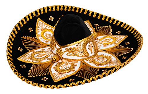 Premium Adult Mariachi Sombrero Charro Hat, Mexican Hat (Black and Gold) -