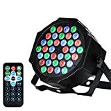 LUNSY 36 LEDs DJ Par Lights, RGB Changeable Color 7 Lighting Modes Stage Lights Remote Control