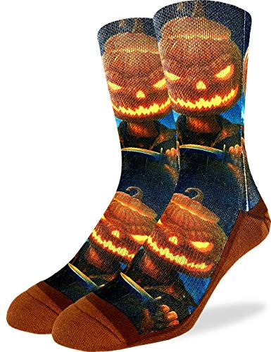Good Luck Sock Men's Evil Halloween Pumpkin Socks - Orange, Shoe Size 8-13]()