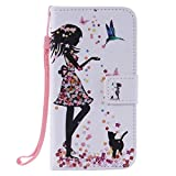 SZYT Phone Case for Samsung Galaxy J3/Samsung Amp Prime/Samsung Express Prime, PU Leather Flip Cover with Handle, Floral Skirt Girl Black Cat