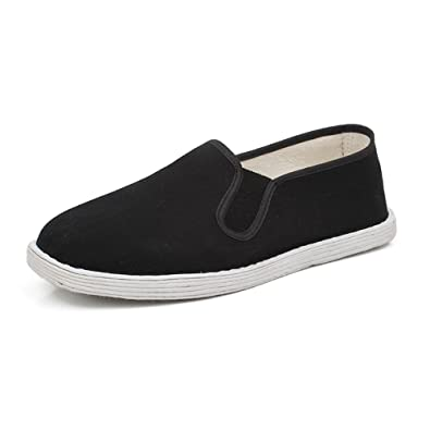 Mens Flat Shoes Cloth Kung Fu Martial Arts Tai Chi Casual Trainers Sport Sneaker Loafers Black