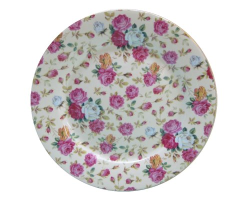 Gracie China Rose Chintz Porcelain 8-Inch Dessert Plate Set of 4, Assorted Four Designs by Gracie China by Coastline Imports (Image #3)