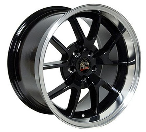 (18 Inch Fits Ford Mustang 1994-2004 FR500 Style FR05B Black w Machined Lip 18x10 Rim Aftermarket product, not original equipment)