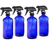 16oz Empty Cobalt Blue Glass Spray Bottles w/Labels and Caps (4 Pack) - Mist & Stream Sprayer - BPA Free - Boston Round Heavy Duty Bottle - For Essential Oils, Cleaning, Kitchen, Hair, Perfumes