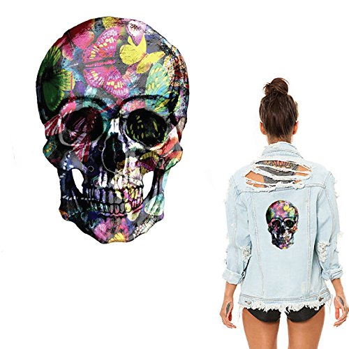 Flower Skull Patches Stickers for Clothes Washable DIY Accessory Decoration Iron on Heat Transfer Parches Para La Ropa