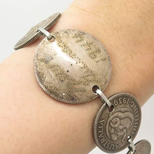Antique 900 Silver Australia Shilling Coin Bracelet 7.5