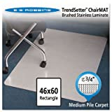 Stainless 60x46 Rectangle Chair Mat, Design Series for Carpet up to 3/4, Sold as 1 Each
