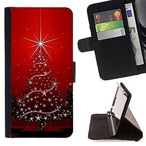 - HOLIDAYS RED CHRISTMAS WINTER STARS TREE - - Prima caja de la PU billetera de cuero con ranuras para tarjetas, efectivo desmontable correa para l Funny HouseFOR Apple Iphone 6 PLUS 5.5