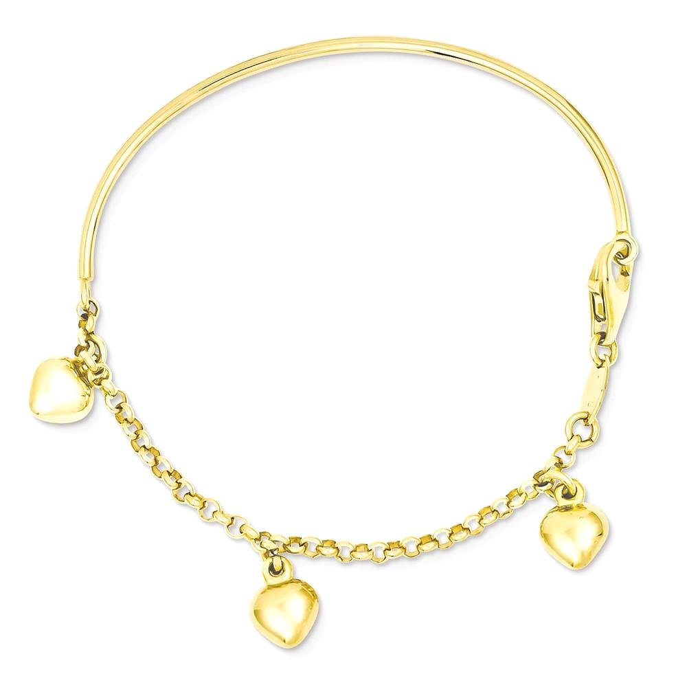 ICE CARATS 14k Yellow Gold Dangle Heart Baby Bracelet 6 Inch Fine Jewelry Gift Set For Women Heart