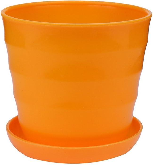 Glossia Planteur De Pots De Fleurs De Plante en Plastique avec Plateau Soucoupe D/éCoration De Jardin De Maison Rond Et Lustr/é 17cm 6.69pouce Calibre Sup/éRieur Blanc