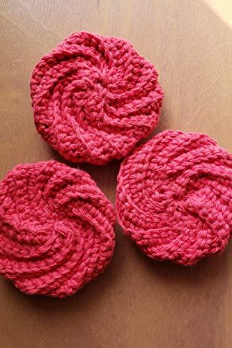 (Handmade dish scrubbies, dish scrubber, crocheted dishcloths, dish scrub pads, round dish cloth, pot scrubbies, cotton scubbies set of 3)