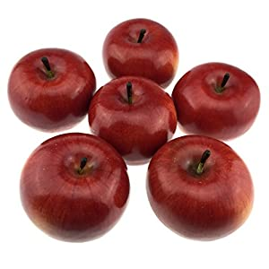 Gresorth 6pcs Lifelike Artificial Red Apple Faux Fake Apples Fruit Home House Kitchen Cabinet Decoration 2