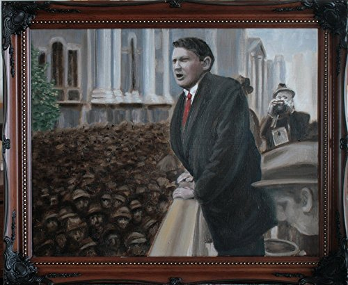 Collins Abstract Painting (Michael Collins Electioneering in Dublin, 1922, - Framed Oil Painting, Original & Unique Art from Ireland)