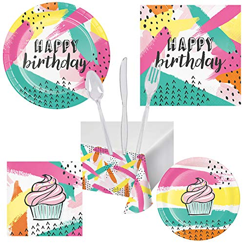 (Chic Cupcake Adult & Children Birthday Party Pack Set Tableware Decoration Serves 16 – Luncheon & Dessert Paper Plates, Table Cover, Napkins & Cutlery – Disposable Party Supplies for Food)