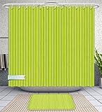 Unique Custom Bathroom 2-Piece Set Seamless Green Wood Texture Shower Curtains And Bath Mats Set, 60''Wx72''H & 23''Wx16''H