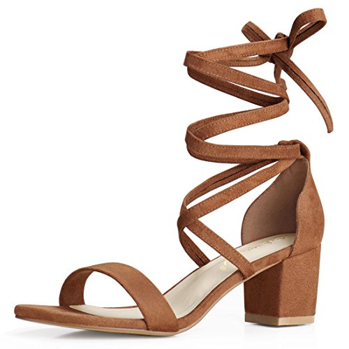 Allegra K Women's Open Toe Lace up Mid Chunky Heeled Sandals (Size US 6) Brown