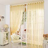 Elisona-100 x 200cm Leaf Flower Pattern Pierced Tulle Door Window Curtain Drape Sheer Yellow