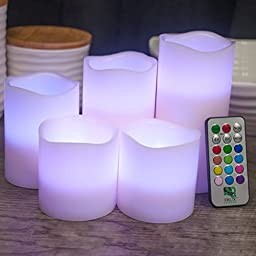 Classic 5 Piece Flameless Pillar Candles, Real Wax Flickering LED Battery Powered Fake Set No Heat and Safe, Perfect for Holiday Decor, Xmas, Weddings, Centrepieces - 12 Color Remote Control and Timer