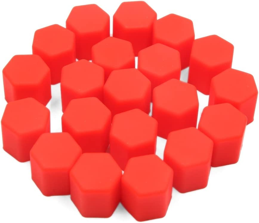 uxcell 20pcs 15mm Red Silicone Car Tyre Wheel Hub Screw Cap Dust Cover Protector