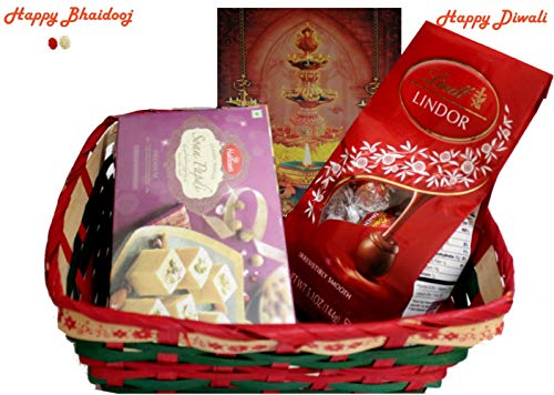 Diwali / Bhaidooj Gift Hamper - Haldiram Soan Papdi, Lindt Lindor Chocolate in a Beautiful Basket